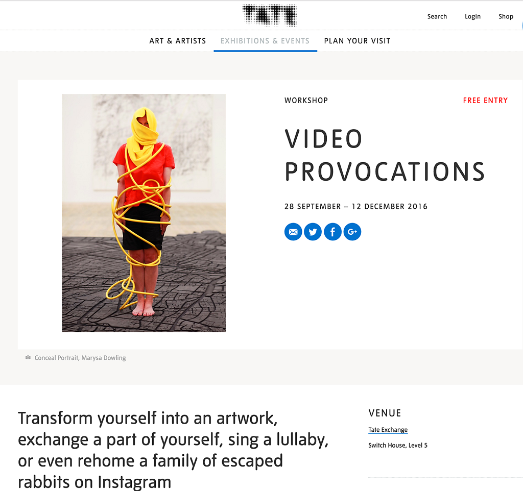 Video Provocation | Conceal Portrait | Tate Exchange